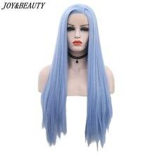 ジョイ & 美容 12 インチ 28 インチ絹のようなストレート合成レースフロントかつらスカイブルーロング耐熱繊維髪の無料パートかつら女性