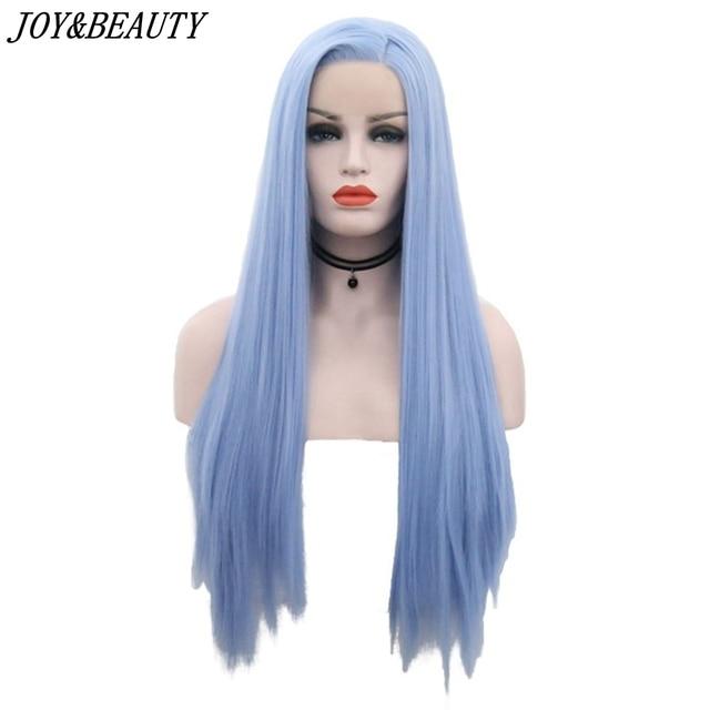 שמחה ויופי 12 inch 28 inch משיי ישר סינטטי תחרה מול פאות שמיים כחול ארוך חום סיבים עמידים שיער משלוח חלק פאות נשים