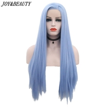 JOY&BEAUTY 12inch-28inch Silky Straight Synthetic Lace Front Wigs Sky Blue Long