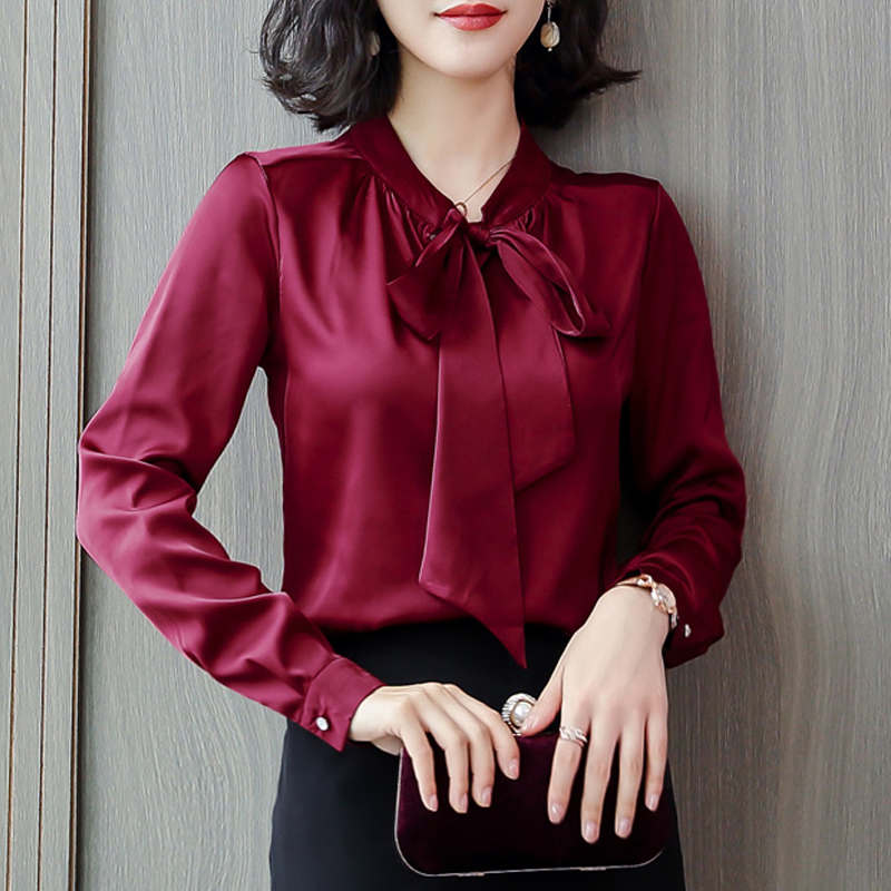 Woman OL   Blouse   French Elegance Style Silk   Blouse     Shirts   Plus Size 3XL Bow Lace Up Long Sleeve   Shirts   Office Work Wear Blusas