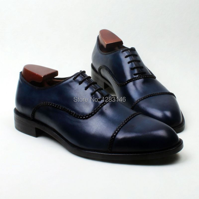 obbilly Bespoke Handmade Genuine Calf Leather Upper outsole/Insole Oxford Navy Round Captoe toe Men's Shoe No.ox604
