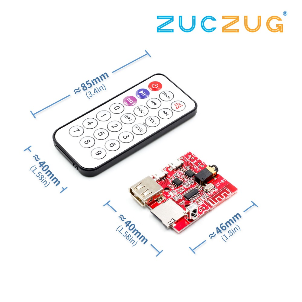 Car Bluetooth 4.1 MP3 WAV Decoding Board 3W Speaker Amplifier Audio Receiver Module Support USB/TF/U-DISK/IR Remote Control