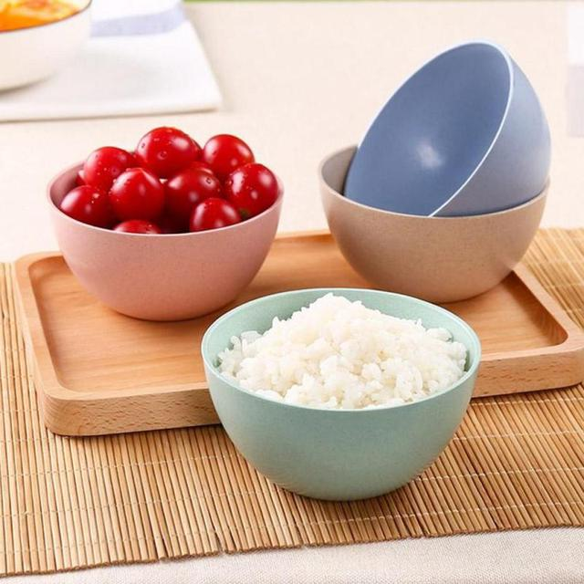 Wheat stalk material round green rice bowl Household Japanese solid color tableware anti-hot childrenu0027s & Wheat stalk material round green rice bowl Household Japanese solid ...