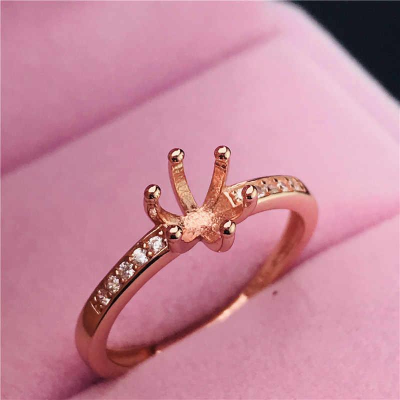 Seis garras simples forma redonda anéis base s925 prata anel base shank prong definir pedra incrustada jóias moda diy feminino agradável