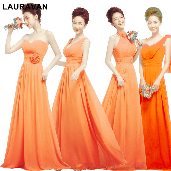 formal plus size women   bridesmaids   and bride robe   bridesmaid     dresses   for adults long in orange 2018 for weddings free shipping