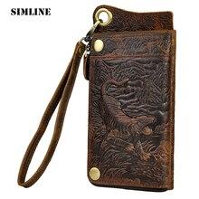 SIMLINE Vintage 3D Muster Vollrindleder Männer männer Lange Clutch Bag Wallet Geldbörsen Geldbörse Mit Reißverschluss Münze Handy tasche