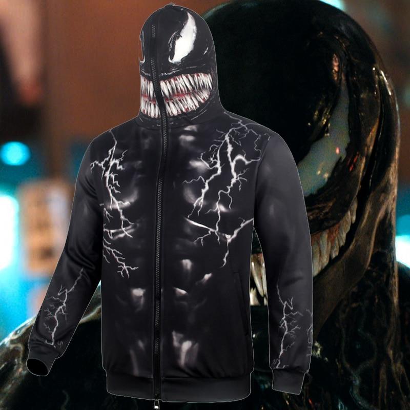 Men Women Warm Thicken Jackets Cosplay Venom Costume Tom Hardy Hooded Hoodies Zipper Sweatshirts Carnival Chiristmas Party Prop