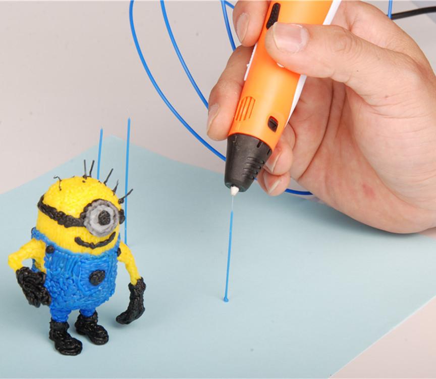 Prix pour DIY Haute qualité 1.75mm ABS/PLA 3D Impression Stylo Maker + 3 pcs Filament + Puissance Adaptateur 3D Impression Barbouilleur Stylo Cadeau Pour Enfants dessin