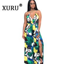 XURU summer new womens printed jumpsuit sexy sling slit wide leg fashion casual multi-color to send belt