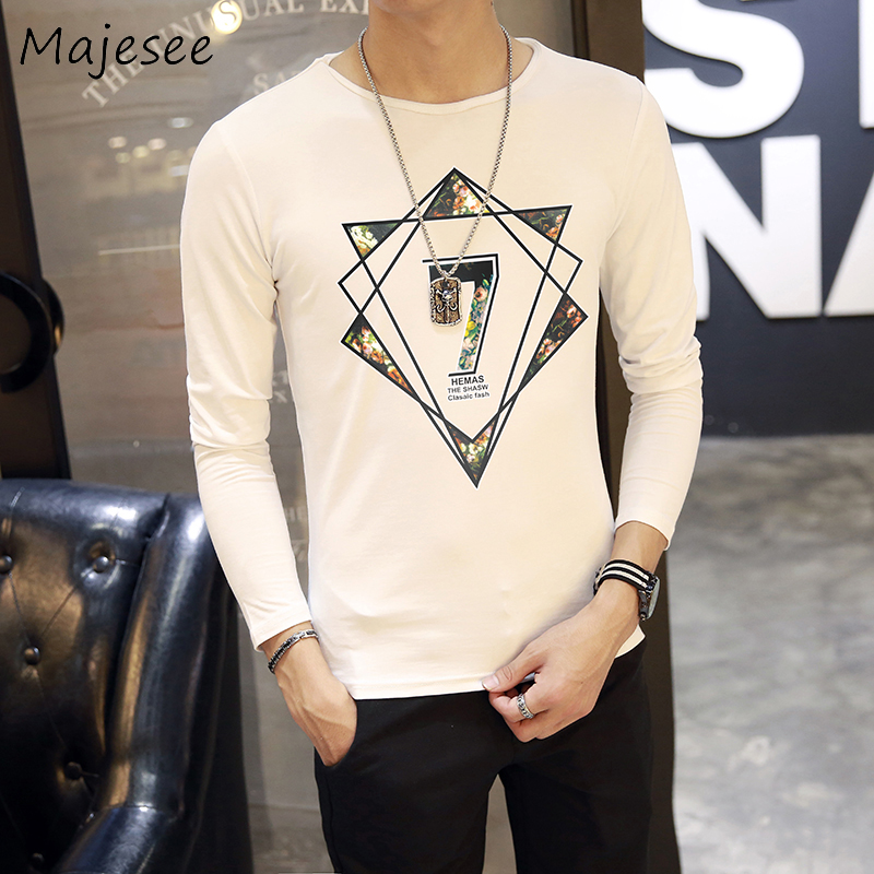 New Fashion Men Long Sleeve T-shirts Male Printing O-neck Mens T-shirt Students Trendy Soft Casual Slim Korean Style 3 Colors