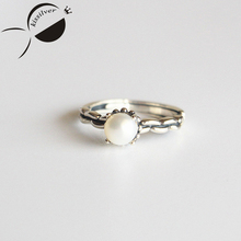 Kissilver Vintage Pearl S925 Sterling Silver pattern ring, open index finger, accessory female