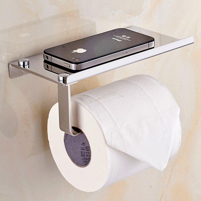 ห้องน้ำกระดาษชั้นวางของสแตนเลสสุขาผู้ถือกระดาษ Wall Mount โทรศัพท์มือถือผ้าเช็ดตัวอุปกรณ์ห้อง...