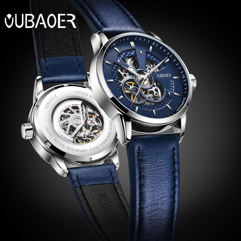 OUBAOER reloj Original para hombre marca superior reloj mecánico automático de lujo Relojes militares de cuero reloj para hombre Relojes masculinos