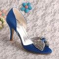 Venta caliente Azul de Raso de Novia Zapatos de Tacones Altos de Cristal Bowtie Bombas de Marca