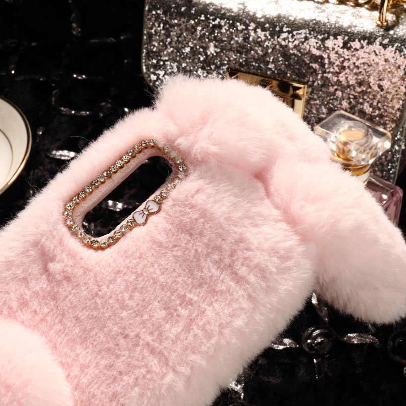 Luxe Warm Konijnenbont Gevallen Voor Huawei P30 Case Leuke Furry Soft TPU Case Voor Huawei P30 Lite Pro Cover terug Coque