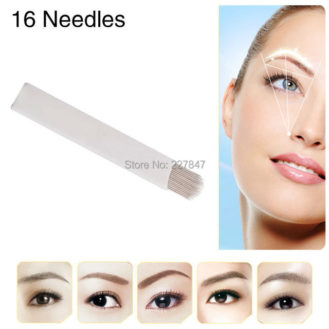 CHUSE Eyebrow Tattoo Blades 50Pcs 16- pin U-Shape Needles For Semi Permanent Makeup Manual Pen Machine      rotary  tattooing