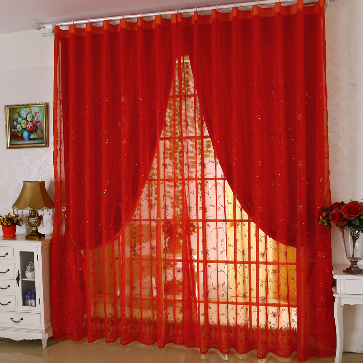 US $69.82 8% OFF|Wedding Decoration Custom Made cortinas Red Curtains  embroidery gauze Living Room Joyous Eco Friendly Tulle Curtains Rideaux-in  ...