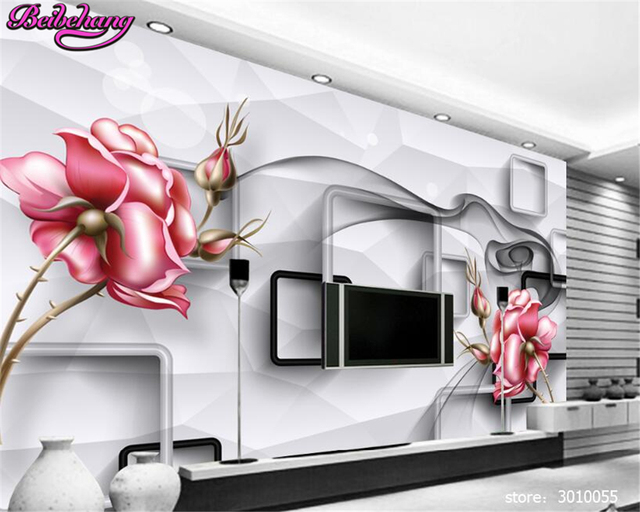 cfa6df6932c Beibehang 3D decoración pintura papel pintado tridimensional flores sueño  transparente flor TV pared papel de pared