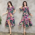 Special offer 2017 new women's original dance summer makeup cotton stitching 1000 thin long sleeved dress body. summer dress