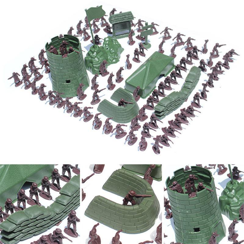100PCS 3cm Army Combat Men Plastic Kids Toy Soldiers Military Plastic Figurine Action Figure Fantastic Gift Children Kid