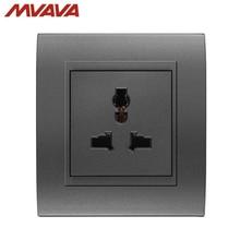 MVAVA 5 Pins Universal Standard Outlets Wall Decorative Multifunction Receptacle 3 Pin Plug Luxury PC Black Socket Free Shipping