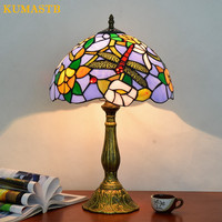 12 Inch Stained Glass Table Lamp High Quality European Style Dragonfly Lamps Shade Lamp Living Room Bedside Stand Lamp Bar Light