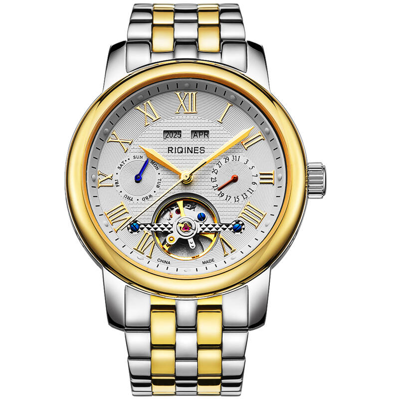 RIQINES skeleton fashion business automatic mechanical steel watch male watch waterproof flywheel men watch russian french spanish prompt voice smart home security gsm alarm system wireless remote control by sms calling with lcd display