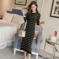 2017 Autumn And Winter Medium Long Sweater Dress Mid Calf Black And White Knitted Striped Women