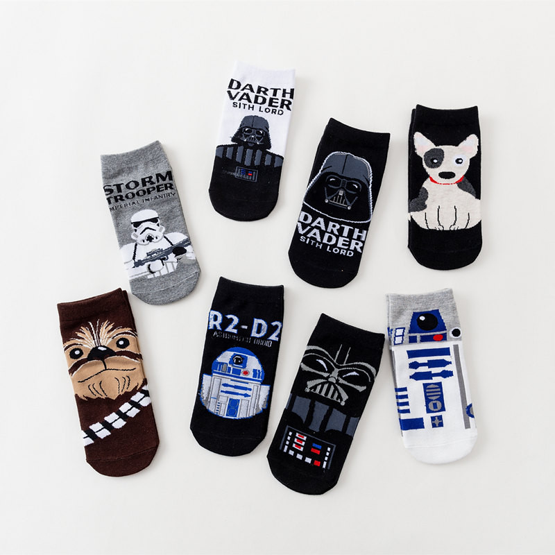 Star-War Men Cotton Short Socks Darth Vader C3PO Robot Soldier Chewbacca Thin Section Low Cut Hot Funny Casual Sport Male Thin