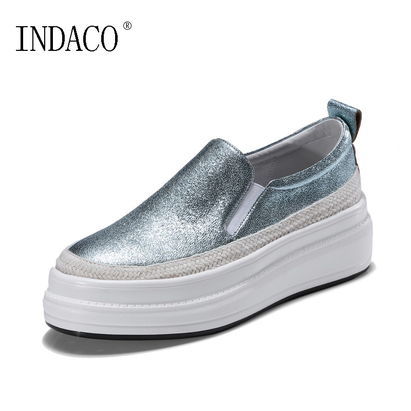 2018 Shoes Woman Sneakers Platform Leather Casual Sneakers Spring New Slip On Loafers Silver 4cm