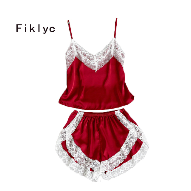 Fiklyc brand sleeveless summer sexy v-neck lace & satin patchwork pajamas sets luxury ladies short pants pyjamas sets nighties
