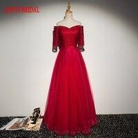 Dunkelrot Lange Abendkleider mit Hülsen Perlen Schöne Frauen Prom Formale Abendkleider Kleider Tragen