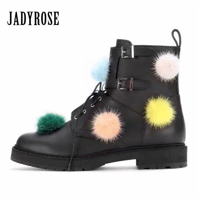 Jady Rose Fashion Pom Pom Decor Women Ankle Boots Female Autumn Platform Botas Mujer Black Genuine Leather Buckles Shoes Woman 2017 autumn women natural leather famous ankle oxford shoes european fashion woman retro oxfords with buckles female luxury