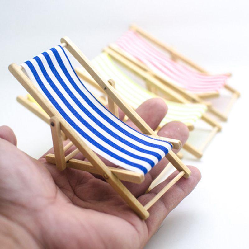 Mini Beach Lounge Chair Dollhouse Miniature Chairs Garden