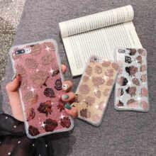Bonitas fundas florales para teléfono con purpurina y lentejuelas doradas y rosas para iPhone XS 11 Pro MAX XR 6X6 S 7 8 Plus funda de leopardo Coques