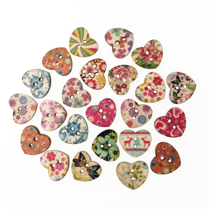 Buy 100pcs random mixed wooden button for Decorative pins for crafts