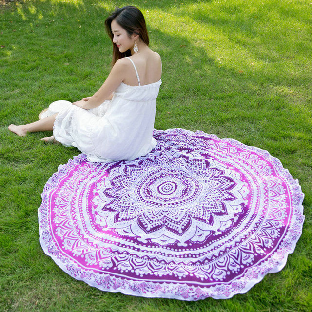 Moda sunbath Toalla De playa redonda grande De gasa impresa India Mandala Bohemia shawlyoga alfombra De picnic De plage tienda más joven YG061