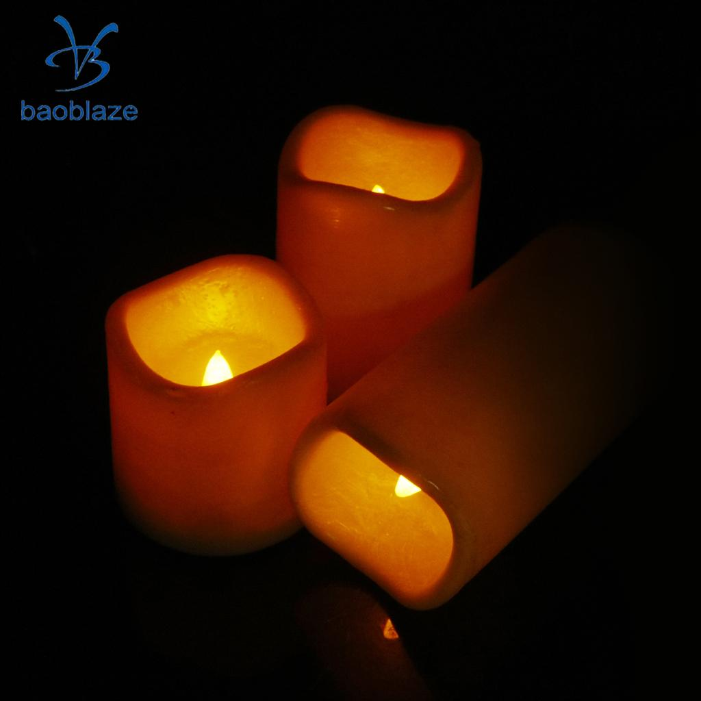 3-set Flameless LED Candle Tea Light Flickering Dancing Candle Waterproof