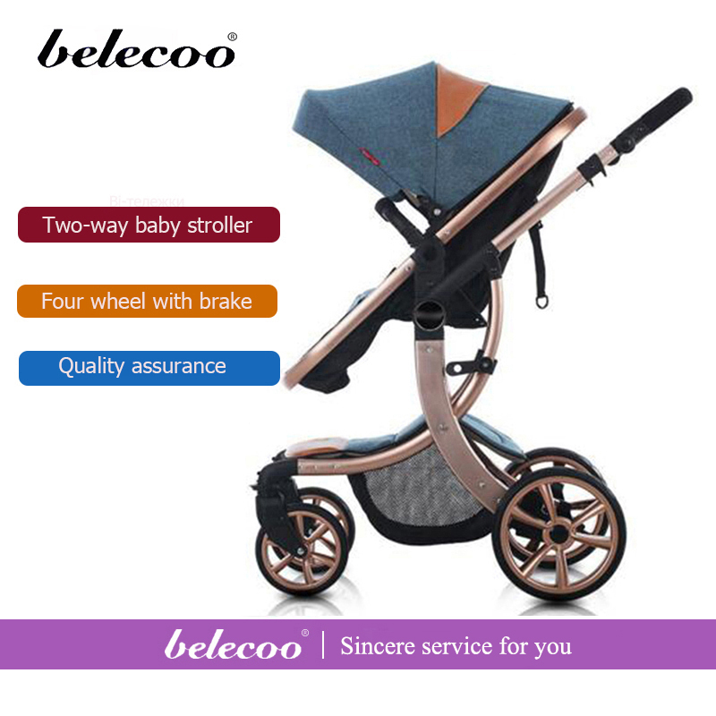 Belecoo  Stock Gift Baby Strollers Portable Lightweight Baby Carriage High Landscape Outing Travel Car Four Season Stroller hk free high quality export baby twin stroller purple 4 colors in stock four season use twin kids baby car