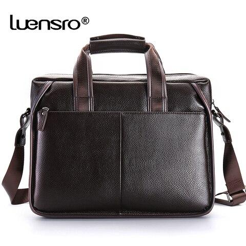 LUENSRO Fashion Men Briefcase Genuine Leather Handbag Male 14 inch Laptop Bag Real Leather Bussiness Shoulder Bag For Men 2018 Islamabad