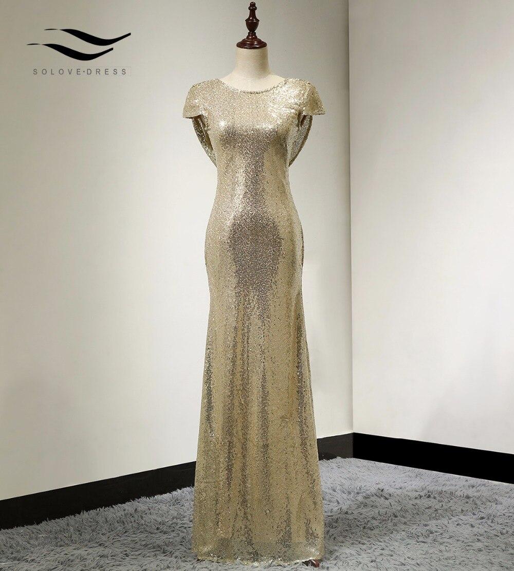 Соловедресс Cap Sleeves Champagne Mermaid Sequin - Ерекше жағдай киімдері - фото 4