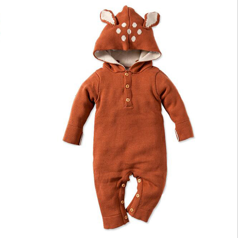Fashion Autumn Baby Boys Rompers Thick Climbing Clothes Warm Romper Knitted Sweater Rabbit Hooded Outwear Newborn Girls Clothing 0 9months autumn winter baby girls boys rompers cartoon cute thick warm hooded jumpsuits newborn clothes infant clothing bc1225