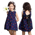 2016 Summer Teenage 2-12 yrs Girl Dresses Clothes Sleeveless Girls Dress Fashion Print  Princess kids Casual Clothes