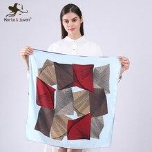Marte&Joven Fashion Mini Square Rayon Neck Scarf for Women Unique Geometric Kerchief Bandana Ladies Best Spring Handkerchief