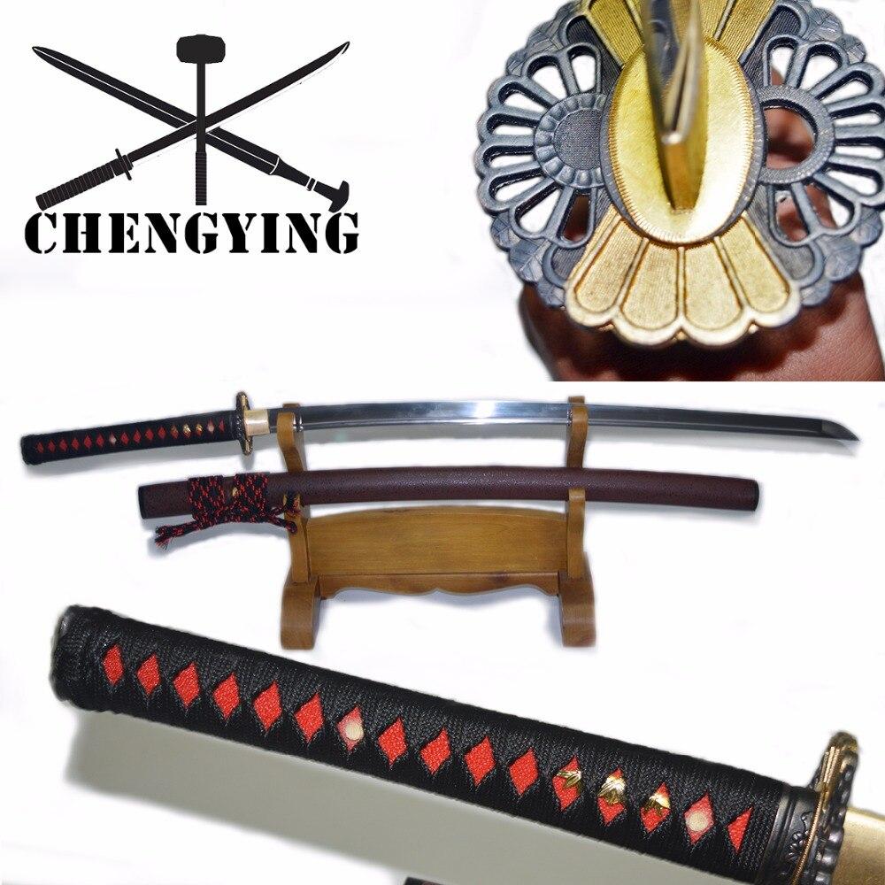 9260 mola de aço mão forjado extinto japonês katana samurai combate prontidão