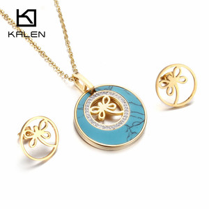 Kalen Women Trendy Jewelry Blue & Stainless Steel Mexico Gold Color Butterfly Bowknot Pendant Necklace & Earrings Set