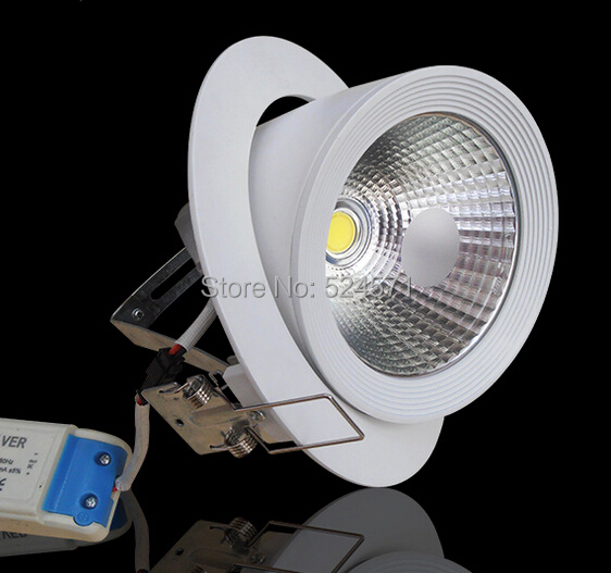 Free Shipping High Brightness COB 20W/30W LED downlight cob led trunk light white  shell led down light AC100 - 240V 9 24w recessed led horizontal down light with external driver ac100 240v color white 2373lm 18pcs lot promotion free shipping