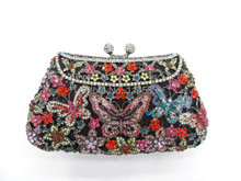 8249A Crystal BUTTERFLY Flower Floral Bridal Party hollow Metal Evening purse clutch bag handbag case