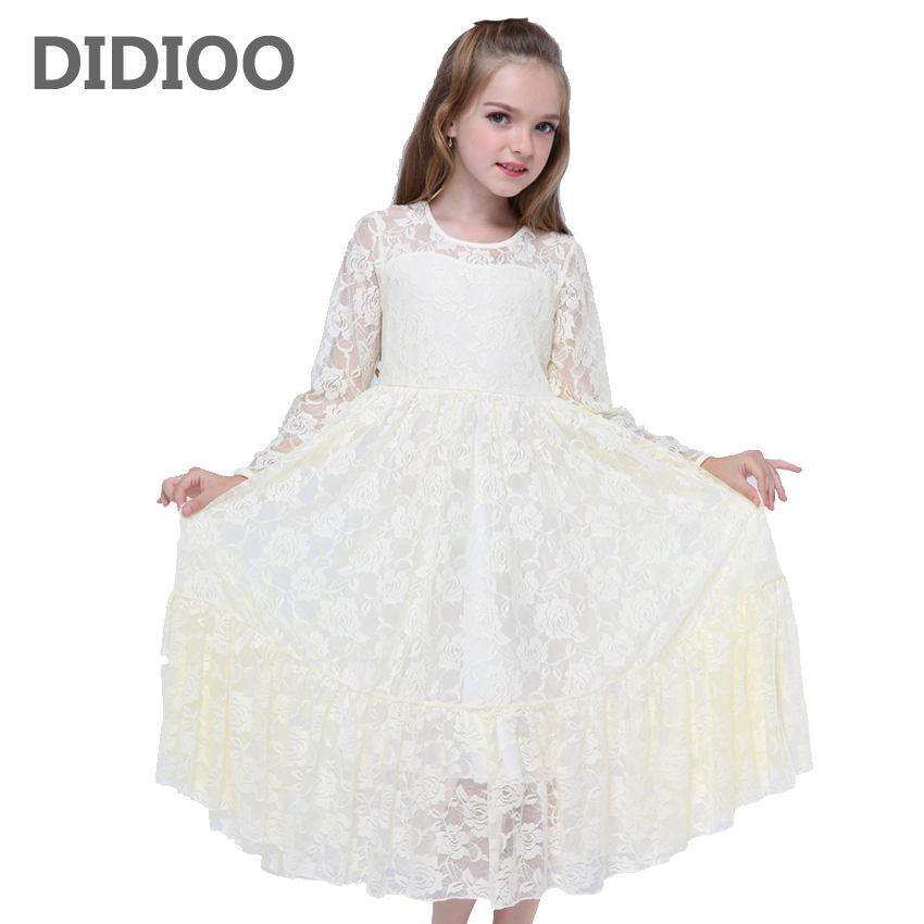 Toddlers Girls Dresses Long Sleeve Lace Princess Dresses For Party And Wedding Hollow Out Maxi Prom Dress Baby Ball Gowns 12M-12 toddler kids baby girls boho long foral princess party dress prom beach maxi sundress print lovely casual long sleeve dresses