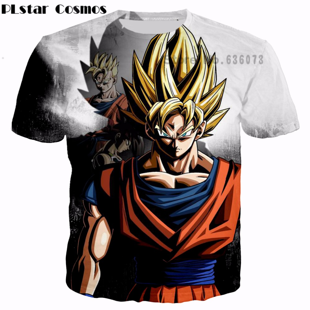 PLstar Cosmos 2017 summer new Fashion   T  -  shirts   Classic Anime Dragon Ball Z Super Saiyan Goku 3d print Women Men Hipster   T     shirt